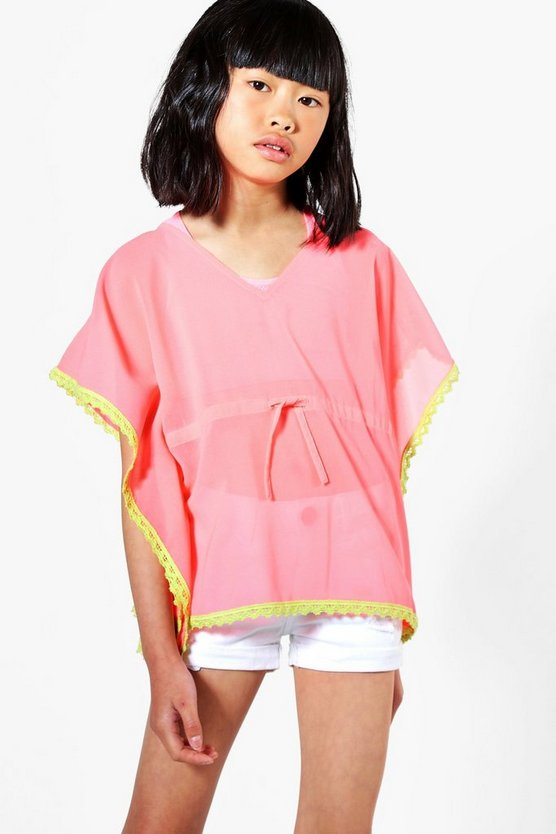 Girls Crochet Trim Kaftan
