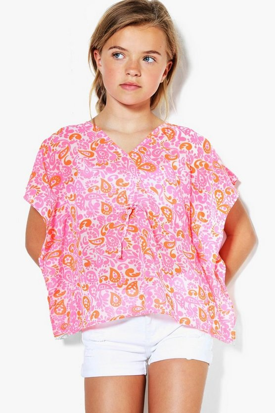 Girls Neon Bright Beach Kaftan