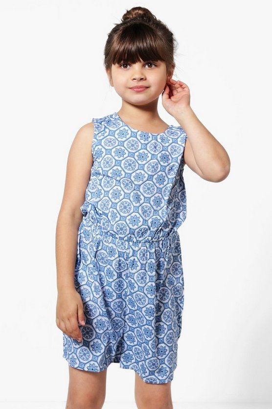Girls Tile Print Playsuit