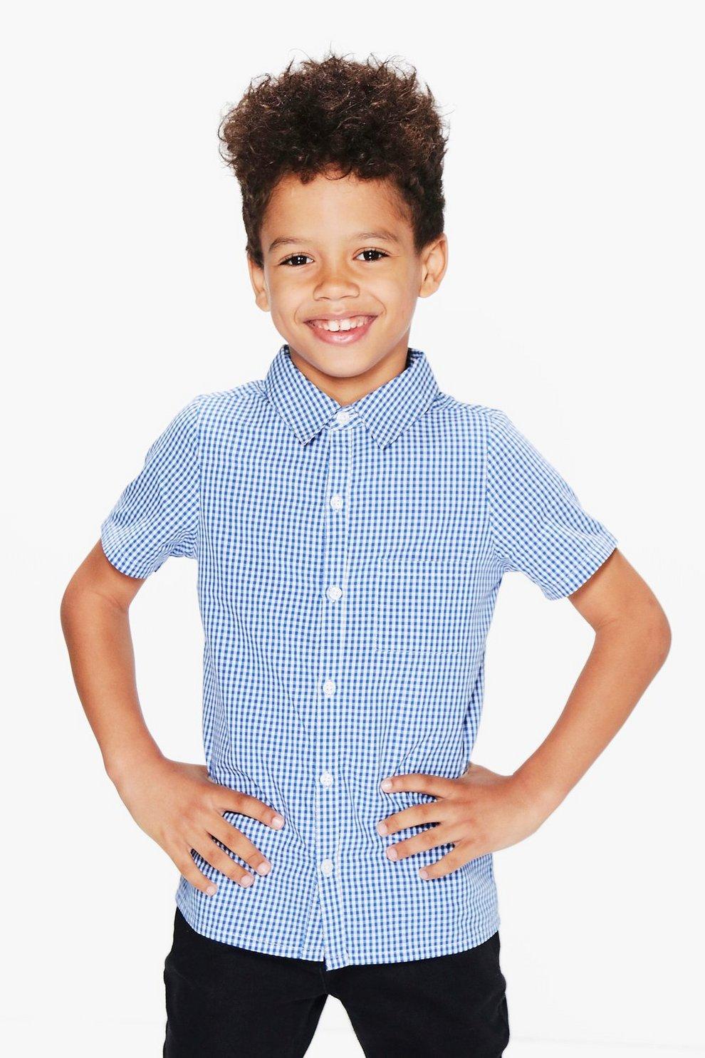 fde4e9bf Mens Blue Boys Gingham Shirt