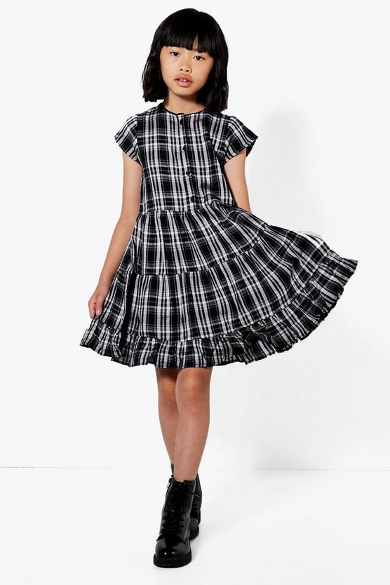 Girls Check Ruffle Hem Dress