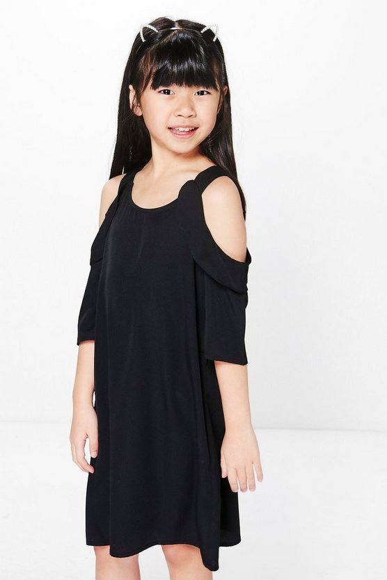 Girls Cold Shoulder Ruffle Dress