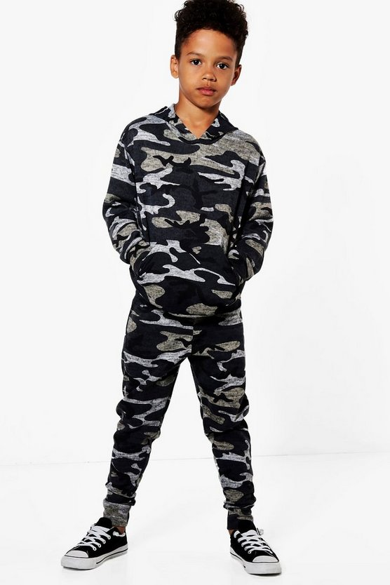 Mens Camo Boys Camo Tracksuit Set