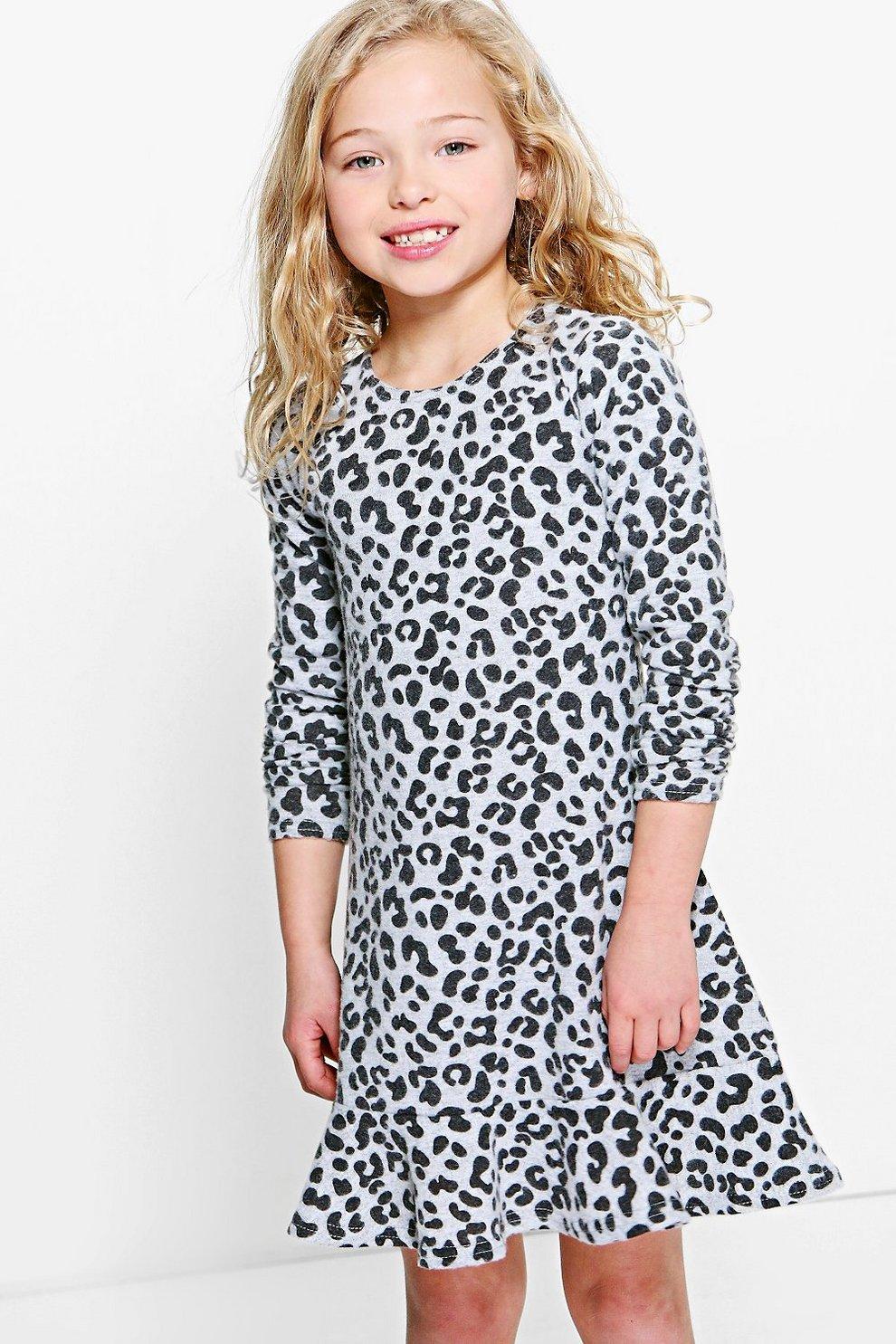 Girls Knitted Leopard Print Dress  302b4e0ce