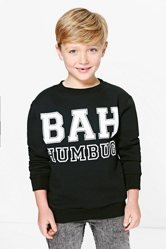 Boys Bah Humbug Christmas Jumper