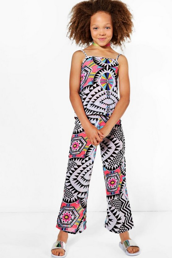 Womens Multi Girls Top & Trouser Bright Beach Set