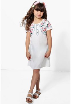 Womens Ivory Girls Embroidered Shift Dress