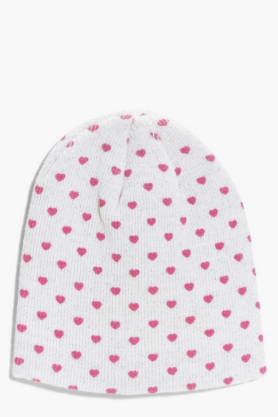 Girls Heart Beanie Hat