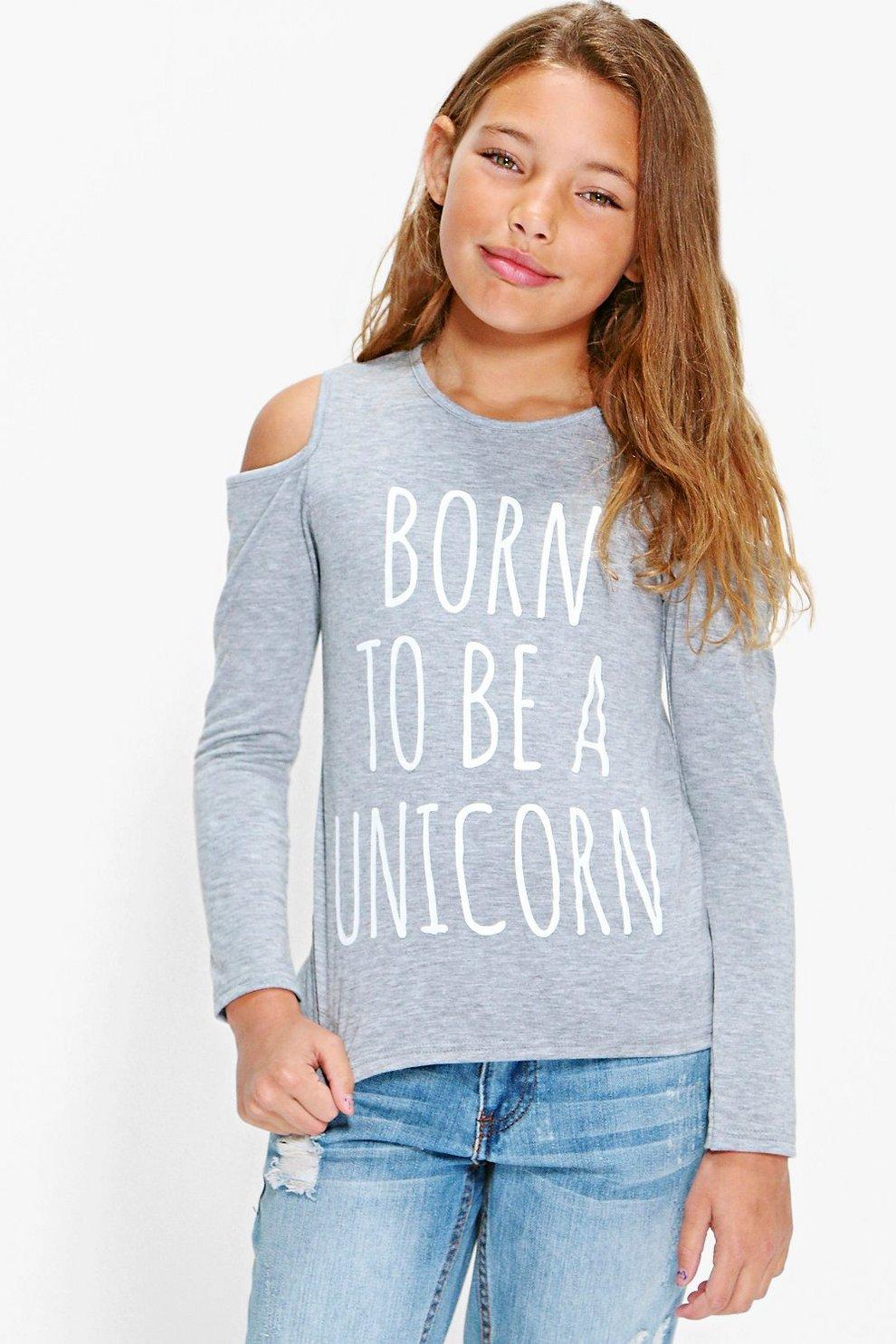 d49bbf26a6cd camiseta de unicornio con hombros descubiertos para niña