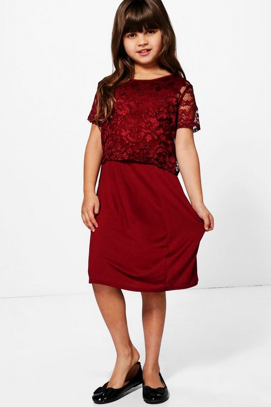 Girls Lace Top Skater Dress