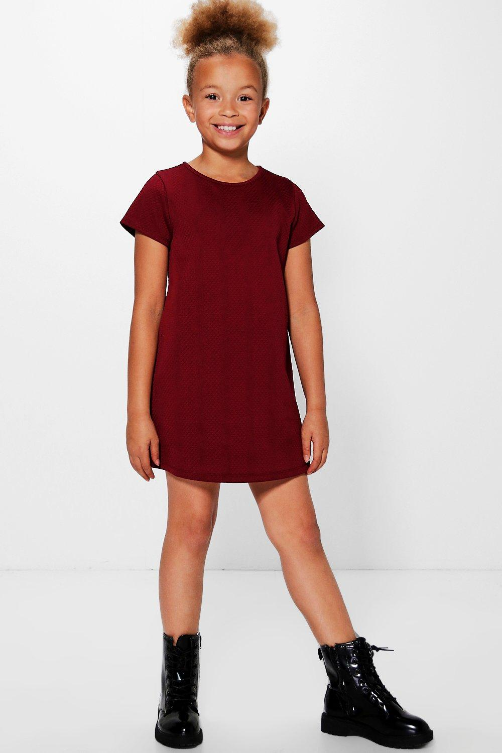 155d137b4 Girls Textured Capped Sleve Shift Dress