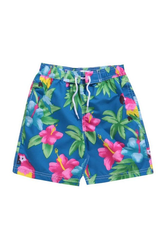 Boys Parrot Print Swim Shorts