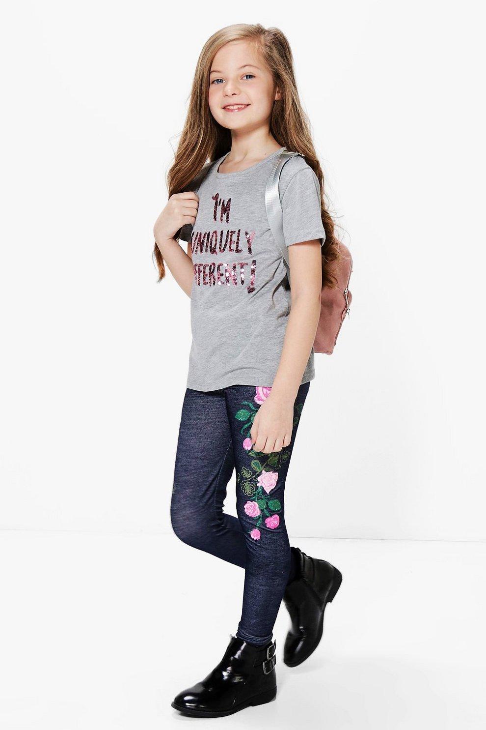 c294a10d461f9 Girls Embroidered Print Denim Look Legging   Boohoo