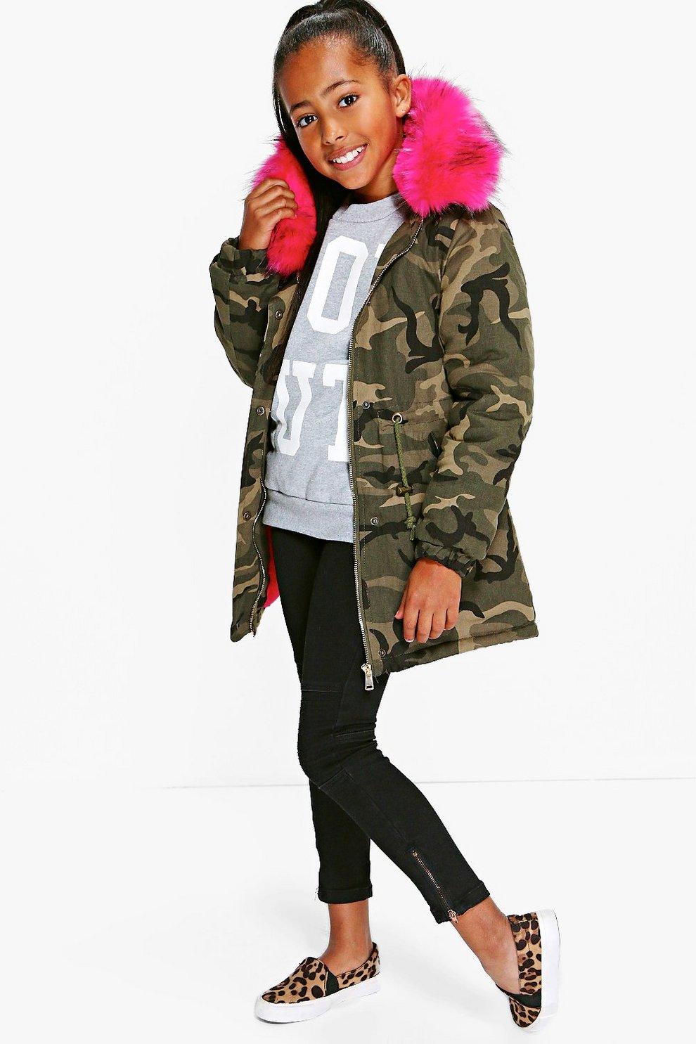 d80ae2a280e93 Girls Camo Faux Fur Contrast Hood Coat | Boohoo