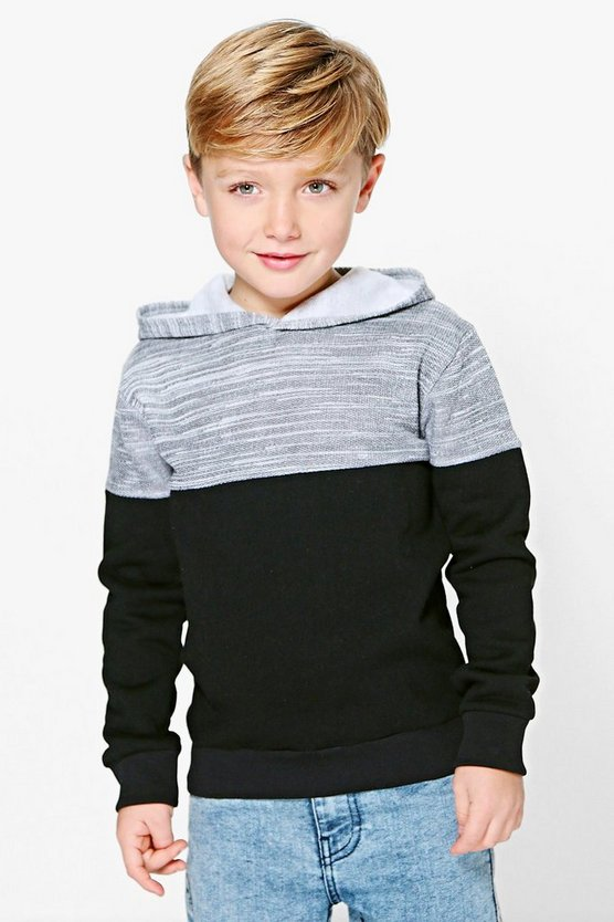 Boys Contrast Hooded Jumper