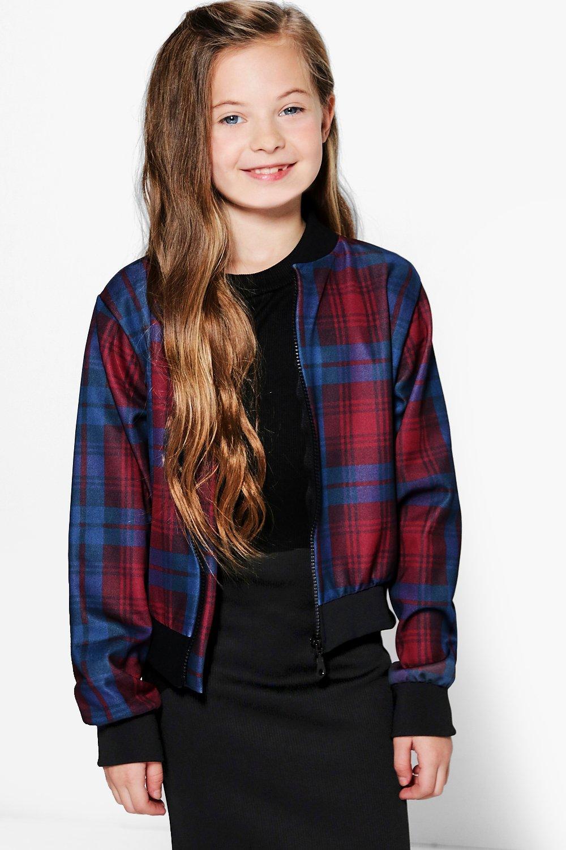 edcc46426 Girls Checked Bomber jacket | Boohoo