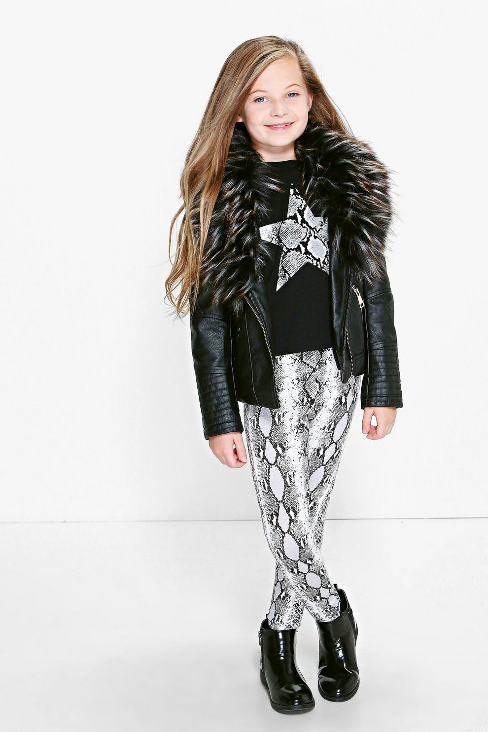 Girls Faux Fur Collar Leather Look Jacket Boohoo