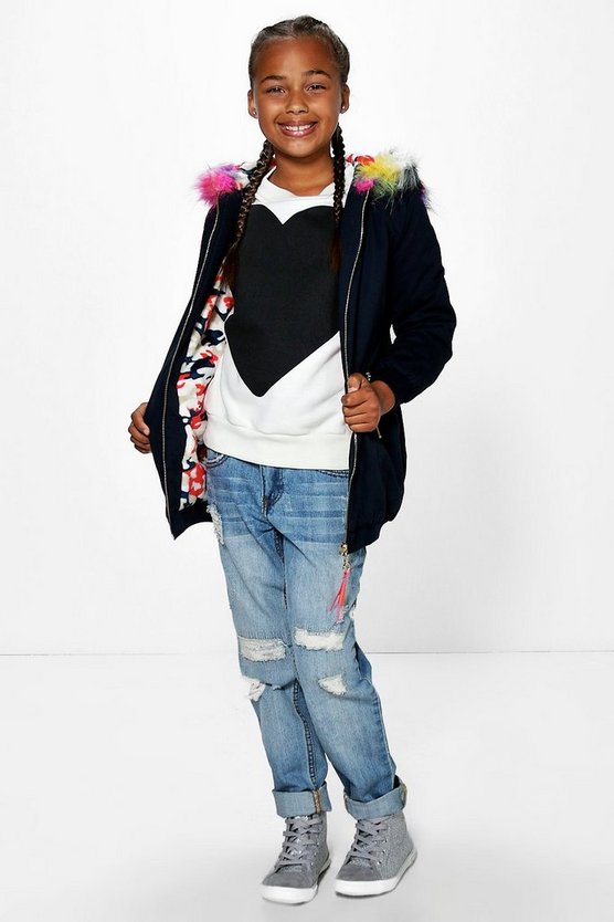 Girls Multi Colour Faux Fur Padded Parka