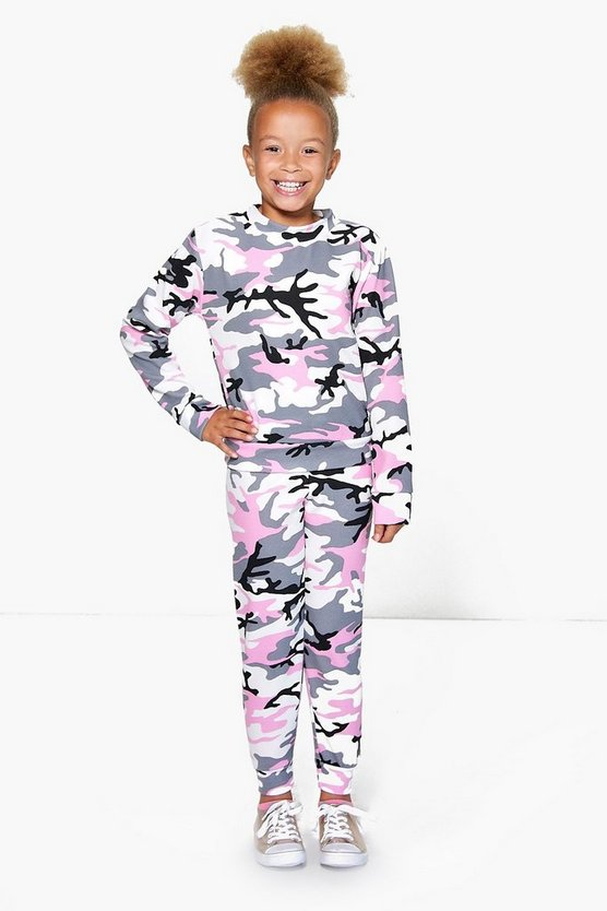 Girls Camo Tracksuit Set
