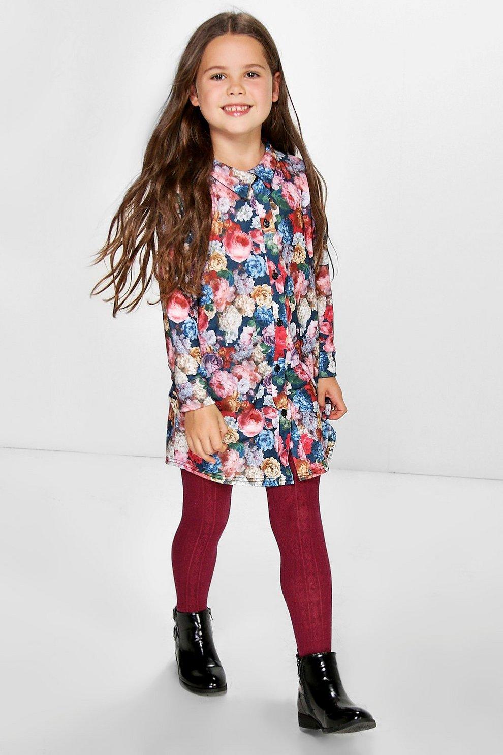 19662cf95c Girls Floral Print Shirt Dress | Boohoo