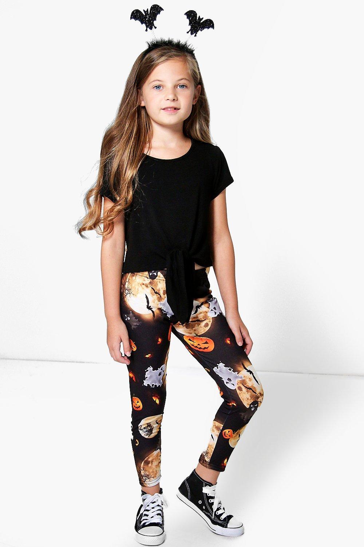 girls halloween print leggings | boohoo
