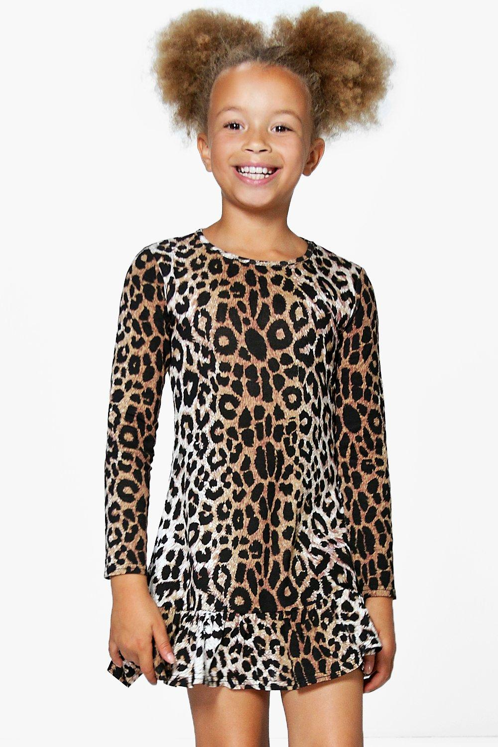 Girls Leopard Print Ruffle Hem Swing Dress. Hover to zoom 0a8875956