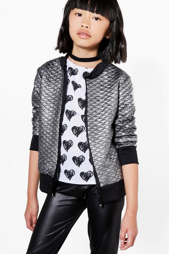 Girls Metallic Quilted Bomber Jacket