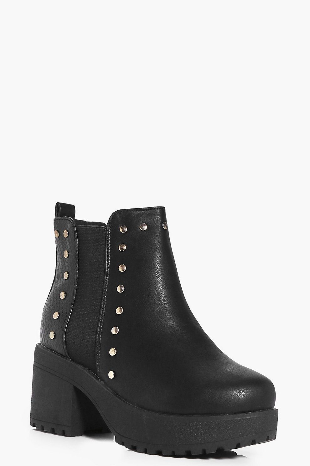 bc3f4457b383 Girls Studded Chunky Chelsea Boots