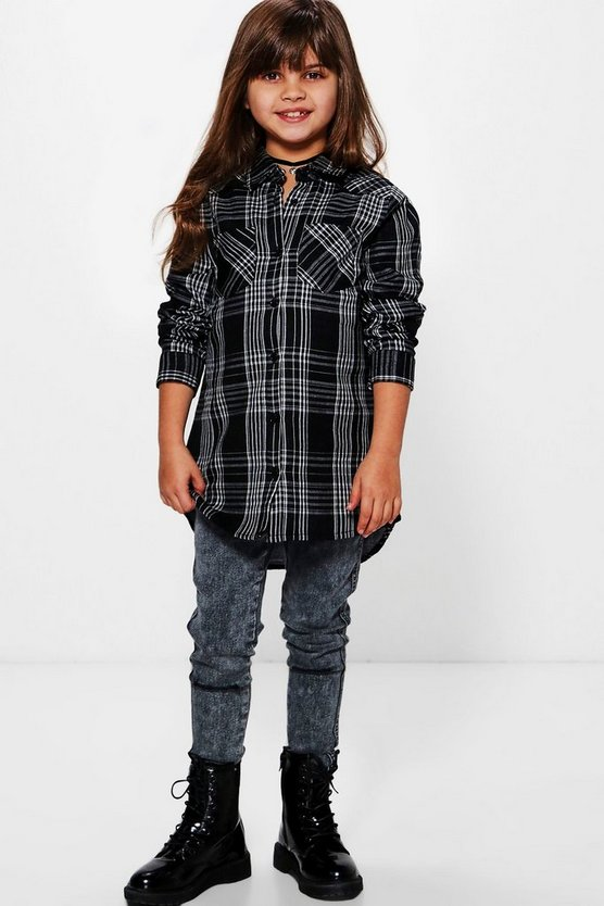 Girls Checked Shirt Dress
