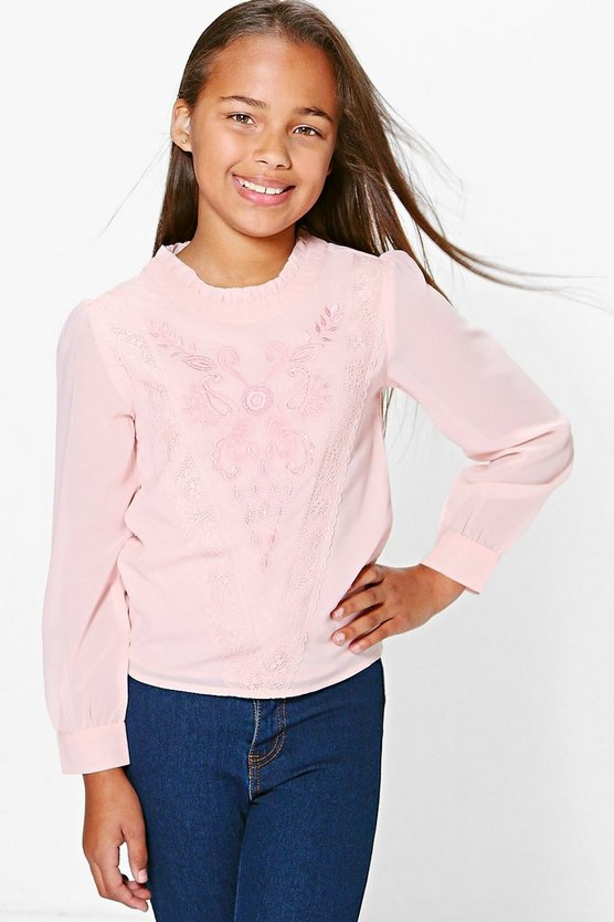 Girls Embroidered Lace Blouse