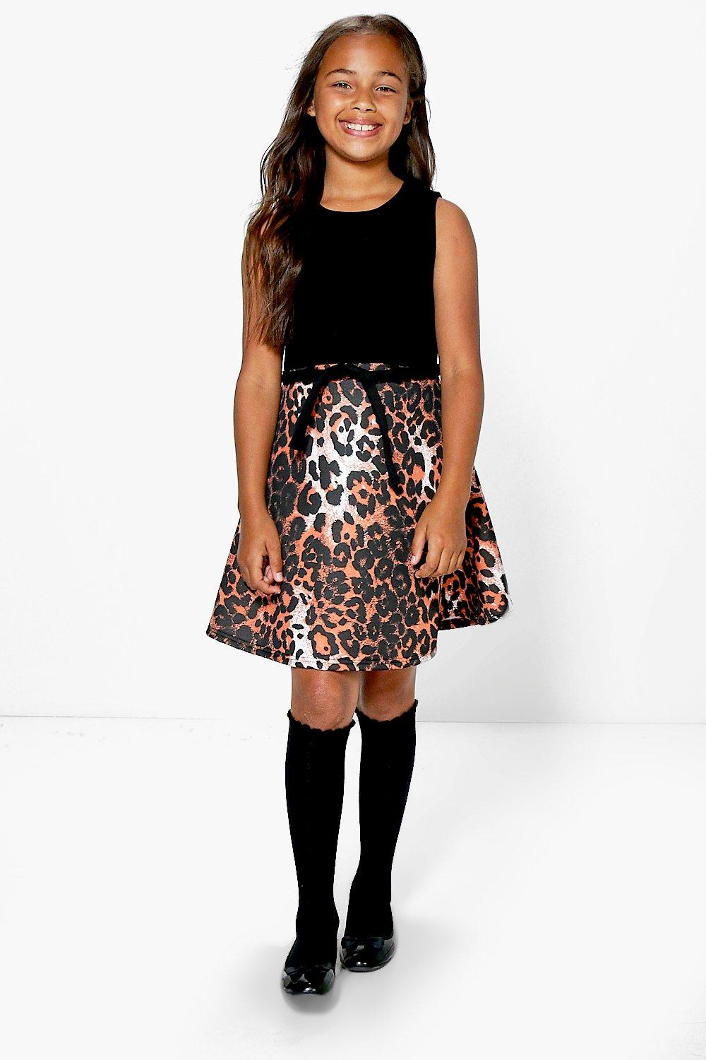 Girls Leopard Print Belted Skater Dress. Hover to zoom eb0161b38