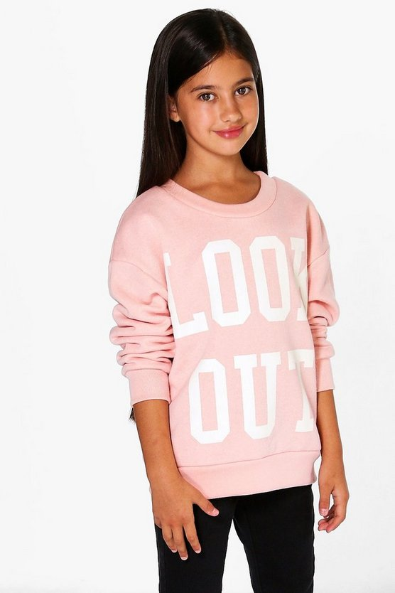 top sweat pour filles look out