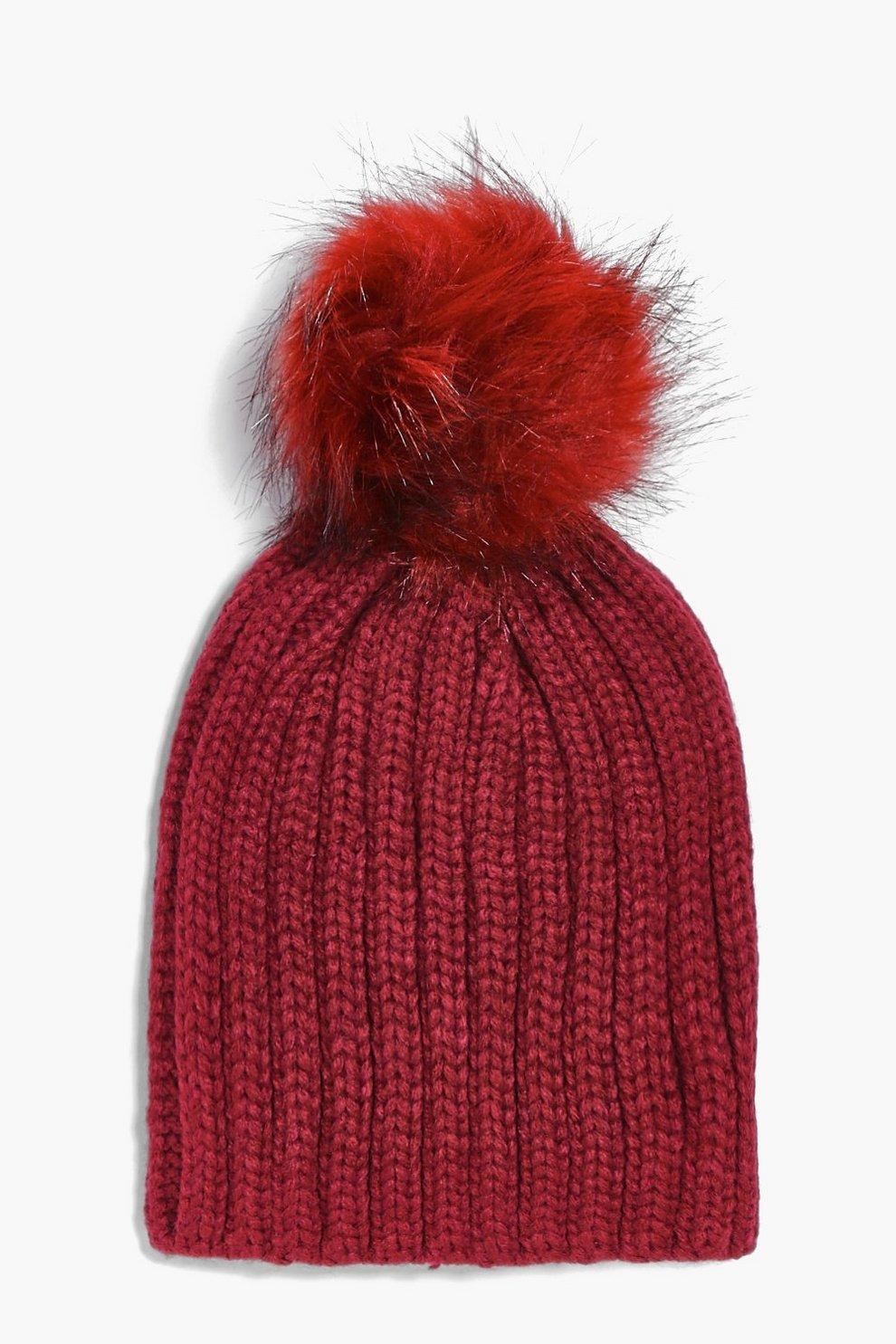 e2ce8972c71 Girls Faux Fur Pom Pom Knitted Hat