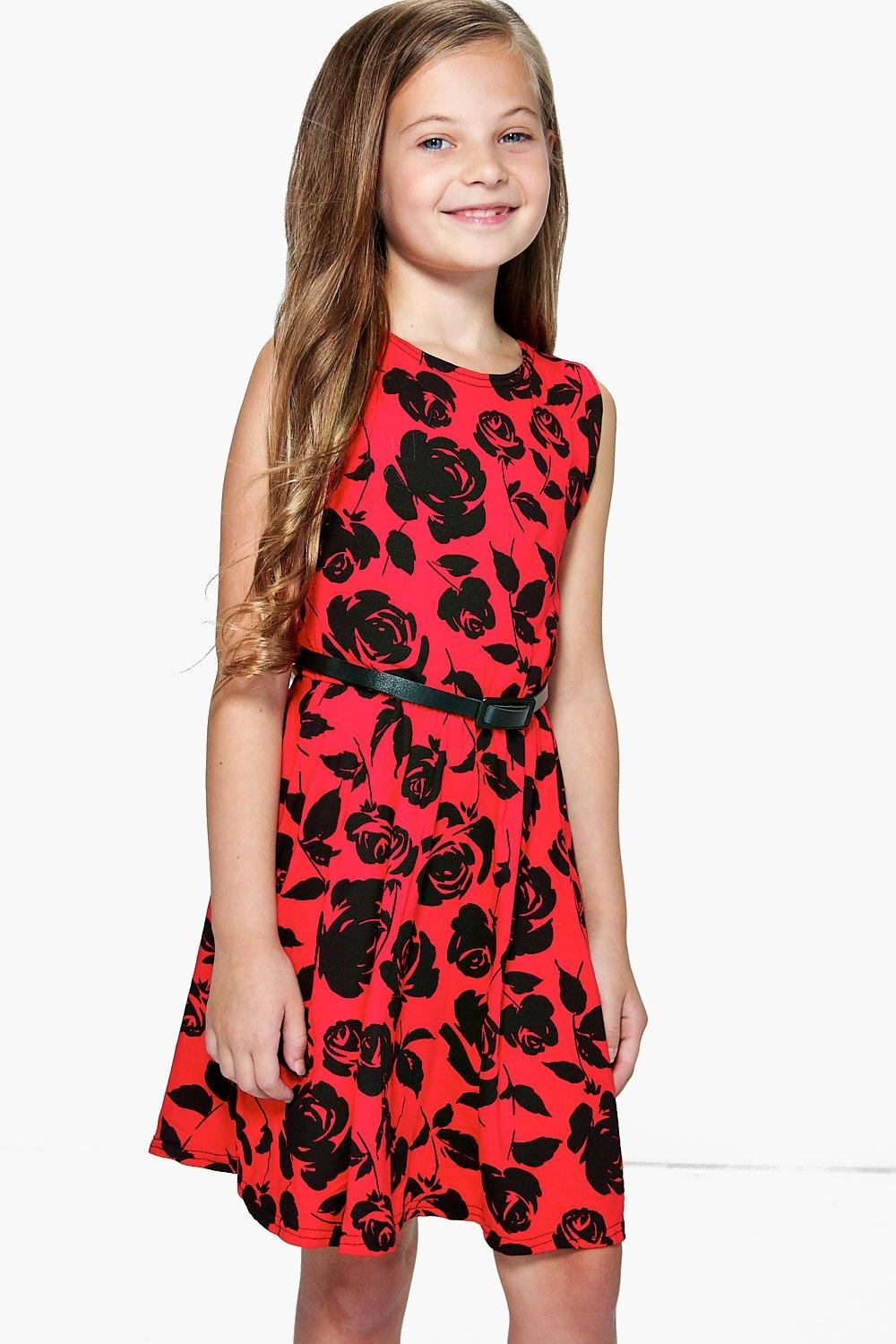 09861e85db25 Girls Floral Belted Skater Dress. Hover to zoom