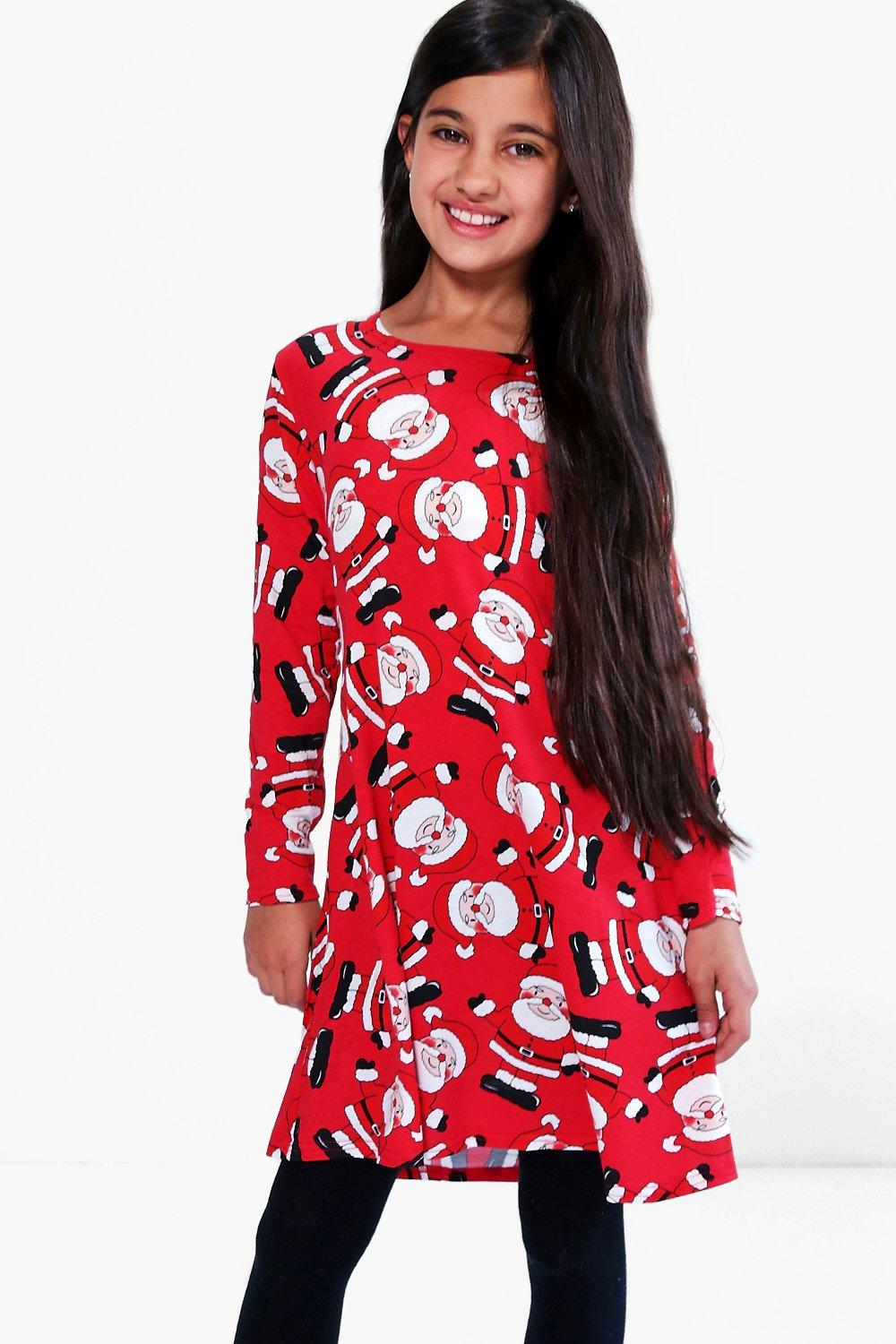 Christmas Swing Dress.Girls All Over Father Christmas Swing Dress