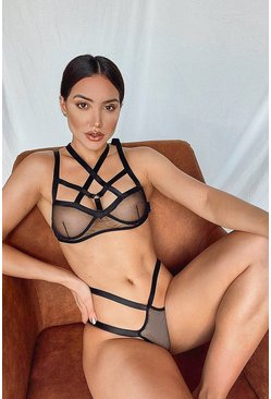 Strapping Halter Bralet and Thong Set, Black