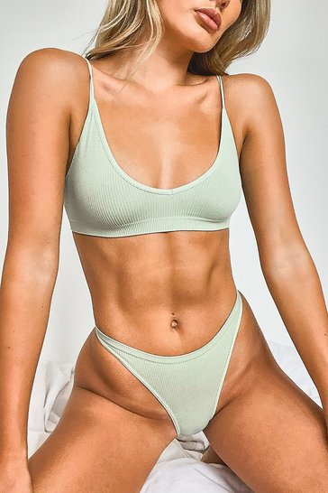 Khaki Ribbed Seamless Thong