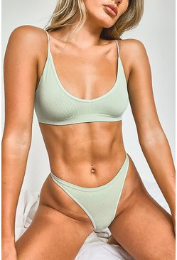 Khaki Ribbed Seamless Triangle Bralet