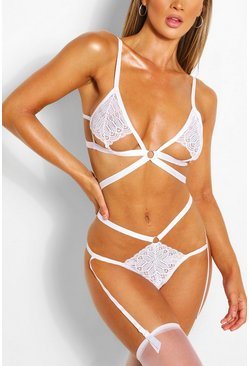 White Cut Out Bralet Thong Suspender & Stocking Set