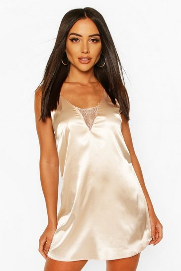 Champagne Satin Cami With Lace Insert