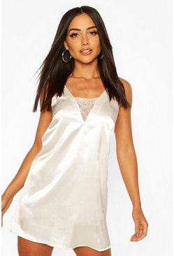 White Satin Cami With Lace Insert