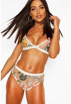 White Floral Embroidered Sheer Bra & Pantie Set
