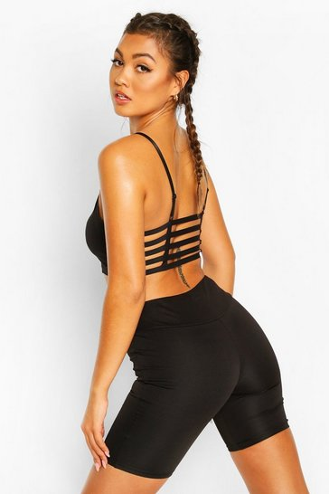 Black Strapping Back Sports Bra