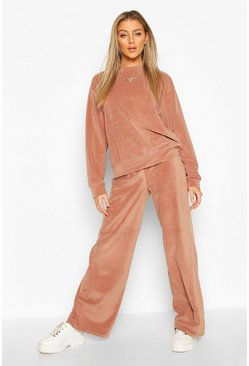 Rose Premium Velour Wide Leg Lounge Jogger