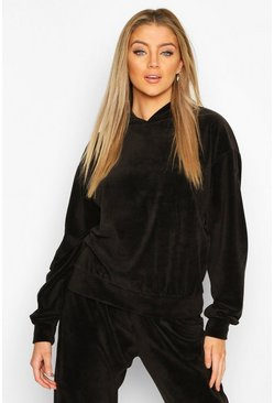 Black Premium Velour Oversized Lounge Hoodie