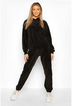 Black Premium Velour Lounge Balloon Jogger
