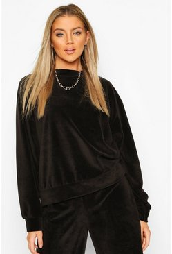Premium Velour Lounge Sweater, Black