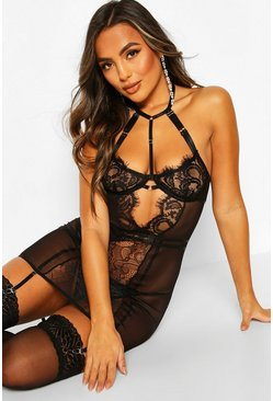 Black Eyelash Lace Cut Out Strapping Babydoll