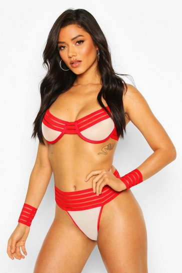 Red Stripe Elastic Bra Cuff & Thong Set