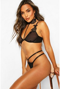Black Applique Choker Bralet & Thong Set